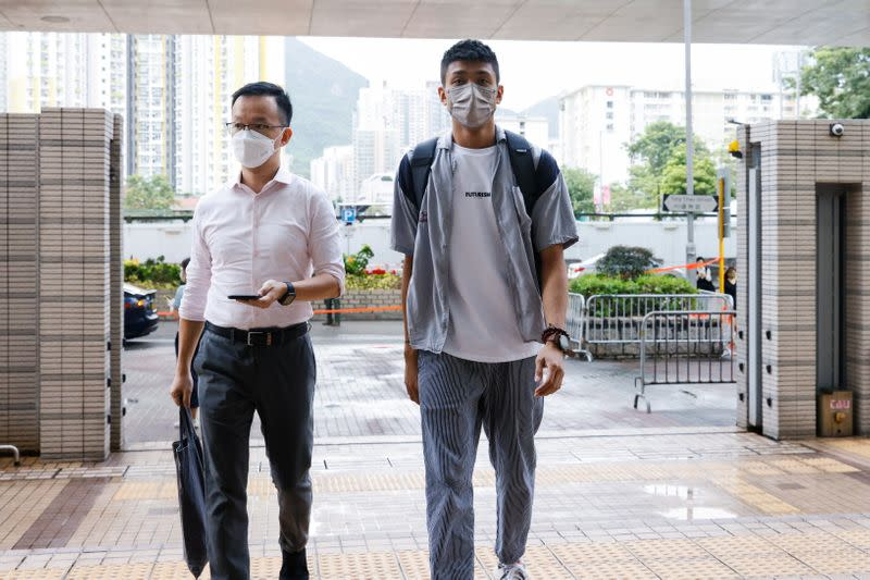 Pro-democracy activist Raymond Chan Chi-chuen and Owen Chow, two of the 47 pro-democracy activists charged with conspiracy to commit subversion under the national security law, arrive West Kowloon Magistrates's Courts building, in Hong Kong