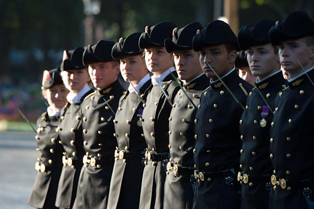 <p>Students of the Ecole Polytechnique (French Special Military school of Polytechnique) take part in Friday's Bastille Day celebrations and military parade on the Avenue des Champs-Elysees on July 14, 2017 in Paris, France. (Photo: Thierry Orban/Getty Images) </p>