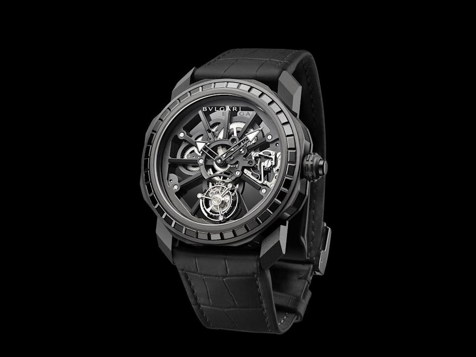 """<p> Octo Roma Naturalia</p><p><a class=""""link rapid-noclick-resp"""" href=""""https://www.bulgari.com/en-gb/watches/mens/"""" rel=""""nofollow noopener"""" target=""""_blank"""" data-ylk=""""slk:SHOP"""">SHOP</a></p><p>Personalisation has been a huge part of trainer culture and streetwear for the last half-century. Seldom has it been taken up by a luxury watch brand - at least not officially. Bulgari's Octo Roma Naturalia is a customisable, high-jewellery watch that gives the buyer a choice of precious stones (black onyx, lapis lazuli or malachite) and case materials (titanium, rose gold or platinum), while the case back can be engraved anyway you like, leading to a true one-off piece. </p><p>The whole thing is run through a new app, the Bulgari Maestria App Configurator, available to shoppers in Bulgari boutiques for now and – who knows – maybe your smartphone eventually.</p><p>From €90,000; <a href=""""https://www.bulgari.com/en-gb/watches/mens/"""" rel=""""nofollow noopener"""" target=""""_blank"""" data-ylk=""""slk:bulgari.com"""" class=""""link rapid-noclick-resp"""">bulgari.com</a></p>"""
