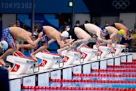 <p>(From L) USA's Robert Finke, Ukraine's Mykhailo Romanchuk, Germany's Florian Wellbrock, Austria's Felix Auboeck, Australia's Jack Alan McLoughlin and Italy's Gregorio Paltrinieri dive to start the final of the men's 800m freestyle swimming event during the Tokyo 2020 Olympic Games at the Tokyo Aquatics Centre in Tokyo on July 29, 2021. (Photo by Odd ANDERSEN / AFP) (Photo by ODD ANDERSEN/AFP via Getty Images)</p>