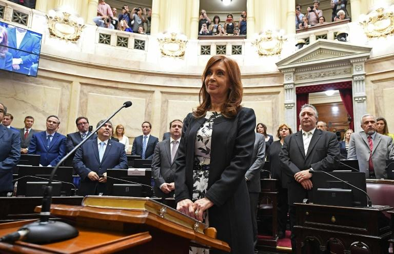 Argentina's former president and Buenos Aires senator Cristina Fernandez de Kirchner swearing-in for a new mandate as senator