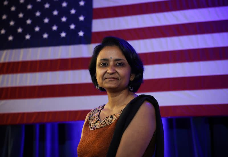 Suparna Dutta, the chairperson of Educators for Youngkin, attends a campaign event in Virginia