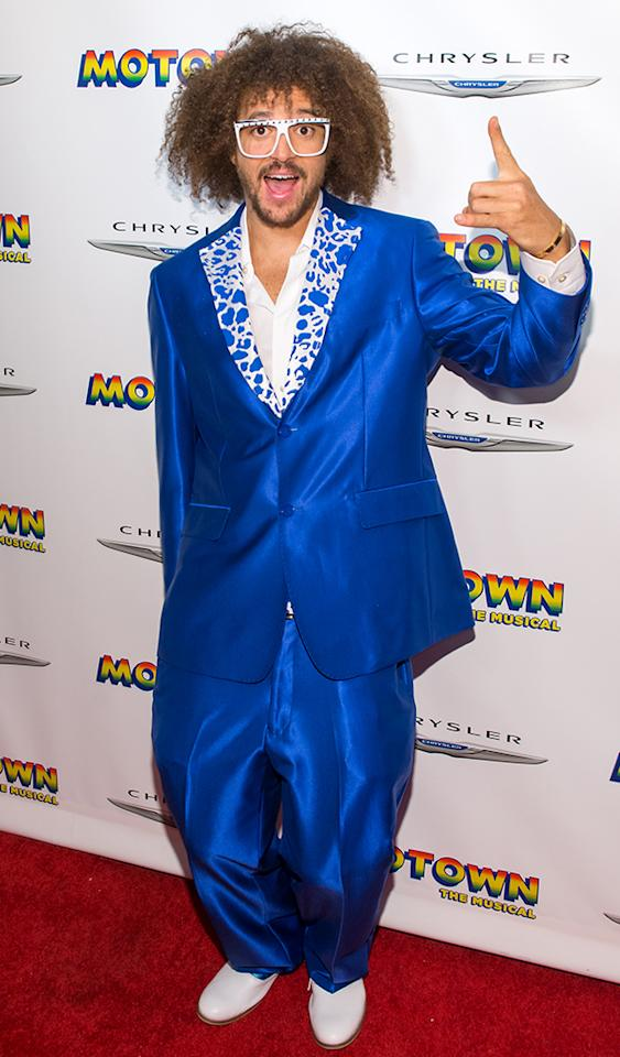 "He may sing ""Sexy and I Know It,"" but LMFAO's Redfoo wasn't sexy -- and we know it -- in this baggy blue suit at the afterparty for the Broadway opening of ""Motown: The Musical."" (4/14/2013)"