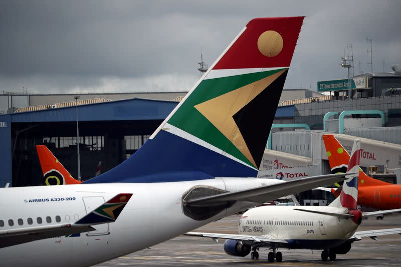 FILE PHOTO: Logo of SAA is seen on an aircraft at O.R. Tambo International Airport in Johannesburg
