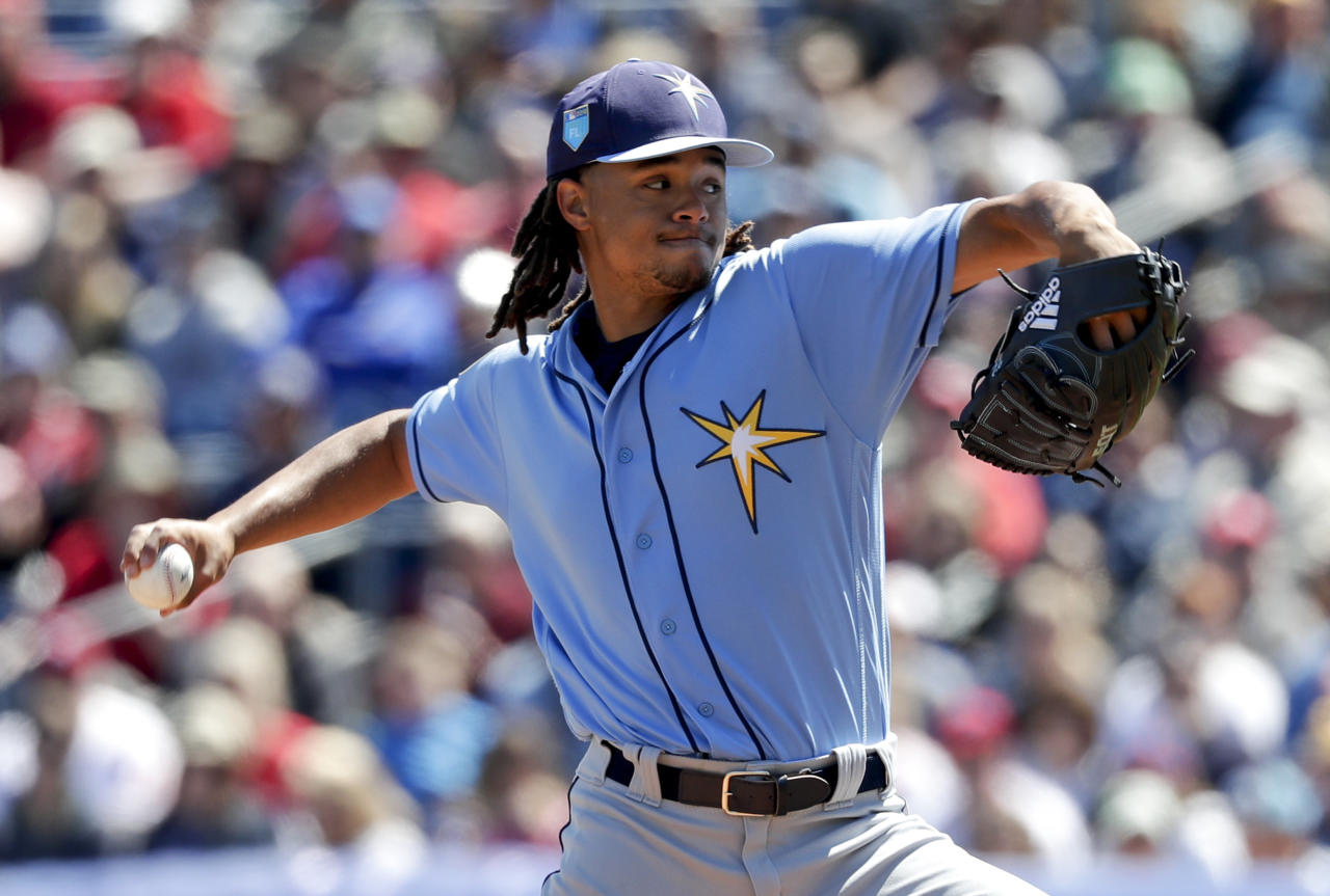 Tampa Bay Rays' Chris Archer pitches against the Philadelphia Phillies in the first inning of a spring baseball exhibition game, Tuesday, March 13, 2018, in Clearwater, Fla. (AP Photo/John Raoux)