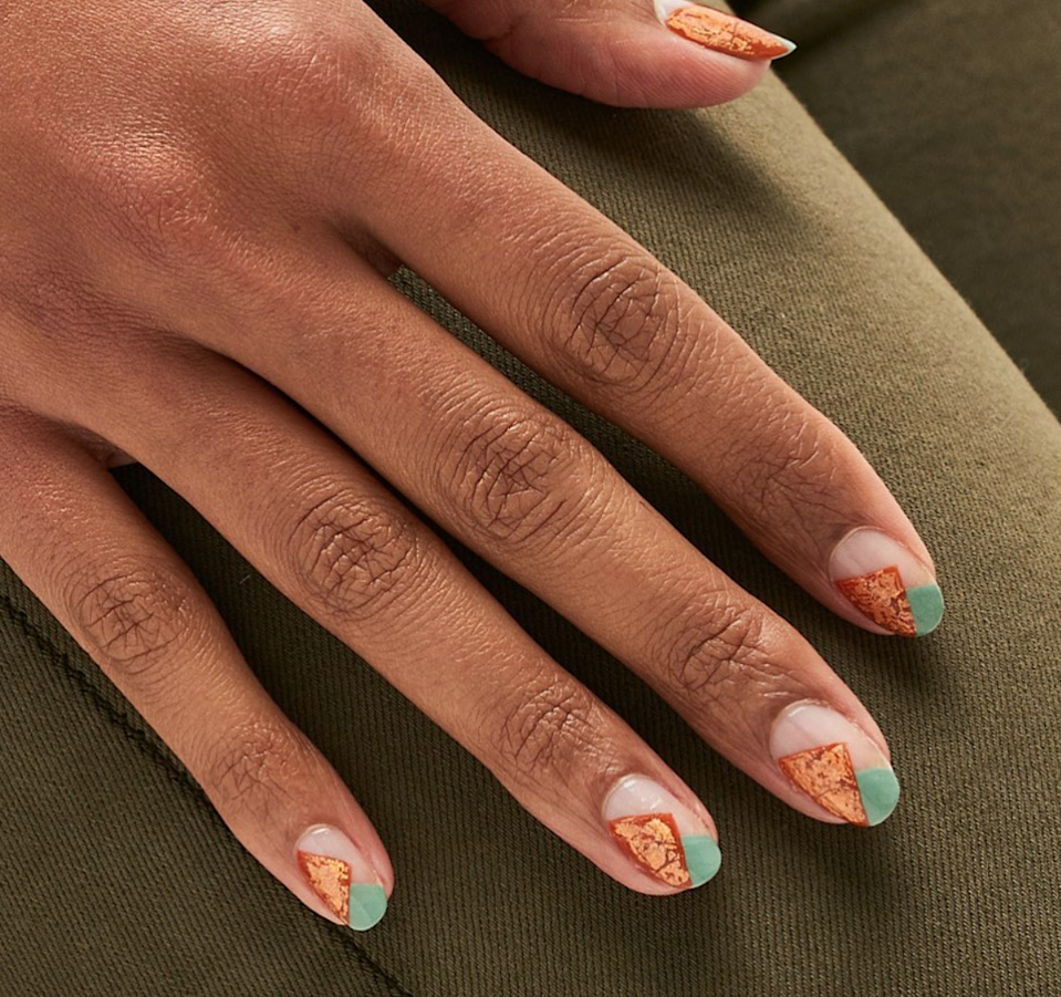 Copper foil looks especially cool—and unexpectedly pumpkin-like—when paired with mint green.