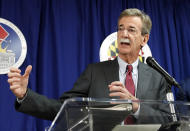 FILE - In this June 12, 2017 file photo, Maryland Attorney General Brian Frosh speaks during a news conference in Washington. The end of the Purdue Pharma bankruptcy case has left a bitter taste for those who wanted to see more accountability for the Sackler family. They will pay more than $4 billion under the settlement but also will escape any future liability over the nation's opioid crisis. The question at the heart of the upcoming appeals is whether it's appropriate for a wealthy family that did not itself file for bankruptcy to get such a broad protection given its role in a crisis that continues take a deadly toll across America. (AP Photo/Alex Brandon, File)