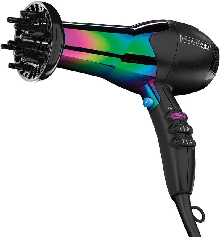 <p>The <span>Conair InfinitiPro By Conair Rainbow Ion AC Dryer</span> ($50) is an affordable hair dyer that can give you sleek shine or voluminous bounce. Turn on AC Ion button for smooth, shiny hair or turn it off for fullness and volume.</p>