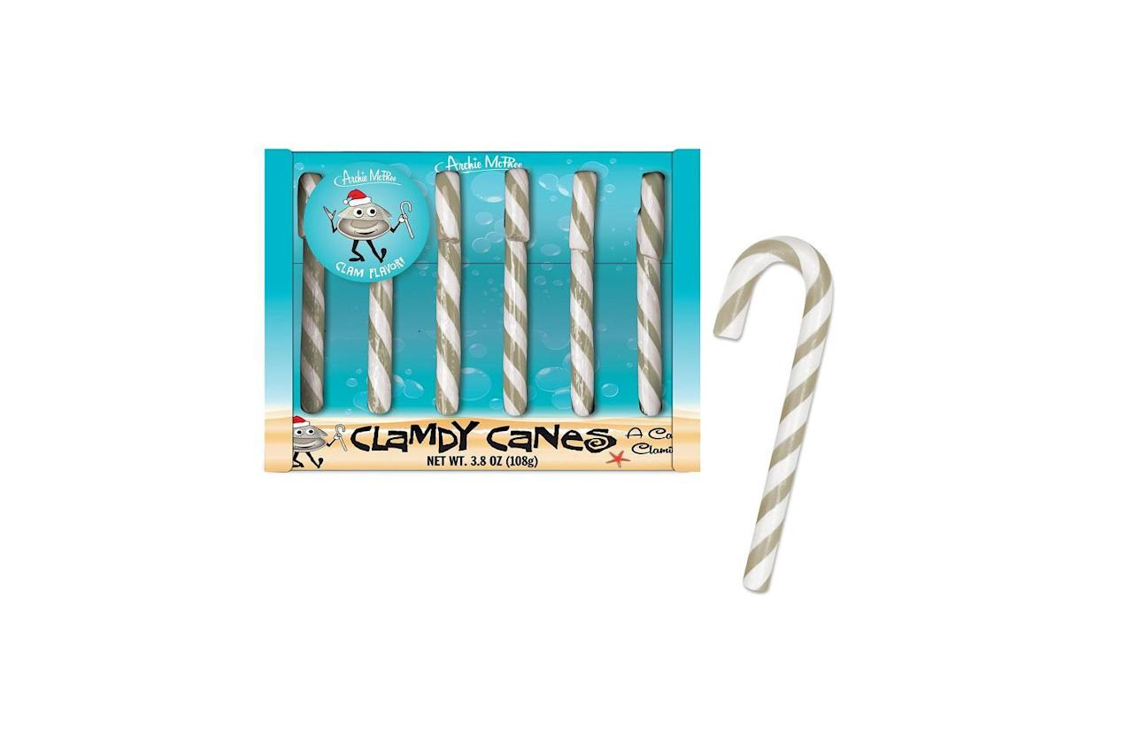 "<p>Seattle's Archie McPhee is responsible for the monstrosity that is ""Clamdy Canes."" These candy canes are flavored like clam and, <a href=""https://www.thedailymeal.com/clam-macaroni-and-cheese-candy-canes-taste-test?referrer=yahoo&category=beauty_food&include_utm=1&utm_medium=referral&utm_source=yahoo&utm_campaign=feed"">according to a Daily Meal writer who tried them</a>, smell like salty ocean water and taste like a dead fish. The silver and white stripes, however, are quite visually appealing.</p>"