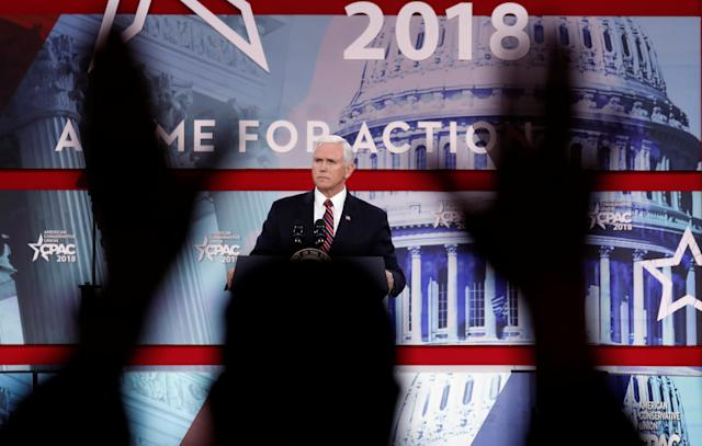 <p>U.S. Vice President Mike Pence is applauded as he speaks at the Conservative Political Action Conference (CPAC) at National Harbor, Md., Feb. 22, 2018. (Photo: Kevin Lamarque/Reuters) </p>