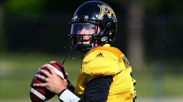 Johnny Manziel threw for 80 yards in his first game action with the Hamilton Tiger-Cats.