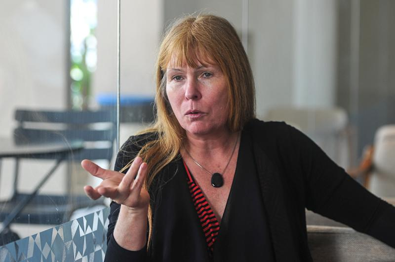 Sarawak Report editor Clare Rewcastle-Brown speaks during an interview at Amcorp Mall in Petaling Jaya May 21, 2018. — Picture by Shafwan Zaidon