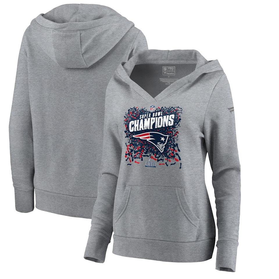 NFL Pro Line by Fanatics Super Bowl LIII Champions Trophy Collection Locker Room Pullover Hoodie, Women's. (Photo: NFL Shop)
