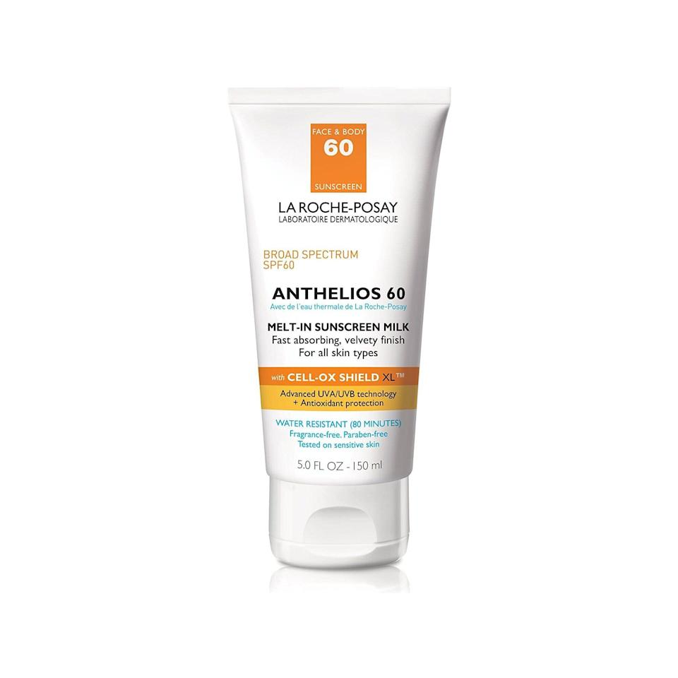 """It's pretty hard to find a sunscreen that checks the boxes of easy blending, face- and body-friendly, and one that has a decent SPF level. <a href=""""https://www.allure.com/review/la-roche-posay-anthelios-melt-in-milk-sunscreen?mbid=synd_yahoo_rss"""" rel=""""nofollow noopener"""" target=""""_blank"""" data-ylk=""""slk:La Roche-Posay's Anthelios 60 Melt-In Sunscreen Milk Body & Face Sunscreen Lotion"""" class=""""link rapid-noclick-resp"""">La Roche-Posay's Anthelios 60 Melt-In Sunscreen Milk Body & Face Sunscreen Lotion</a> does it all. What's even better is that the cream is lightweight in texture so you won't feel like you need to dunk yourself in the shower after a day of head-to-toe wear. The brand's <a href=""""https://www.allure.com/review/la-roche-posay-anthelios-clear-skin-dry-touch-sunscreen-spf-60?mbid=synd_yahoo_rss"""" rel=""""nofollow noopener"""" target=""""_blank"""" data-ylk=""""slk:La Roche-Posay Anthelios 60 Clear Skin Dry Touch Sunscreen"""" class=""""link rapid-noclick-resp"""">La Roche-Posay Anthelios 60 Clear Skin Dry Touch Sunscreen</a> is a two-time Best of Beauty Award, but trust us, this one is just as good. $22, Amazon. <a href=""""https://www.amazon.com/dp/B07HFHWNPH"""" rel=""""nofollow noopener"""" target=""""_blank"""" data-ylk=""""slk:Get it now!"""" class=""""link rapid-noclick-resp"""">Get it now!</a>"""