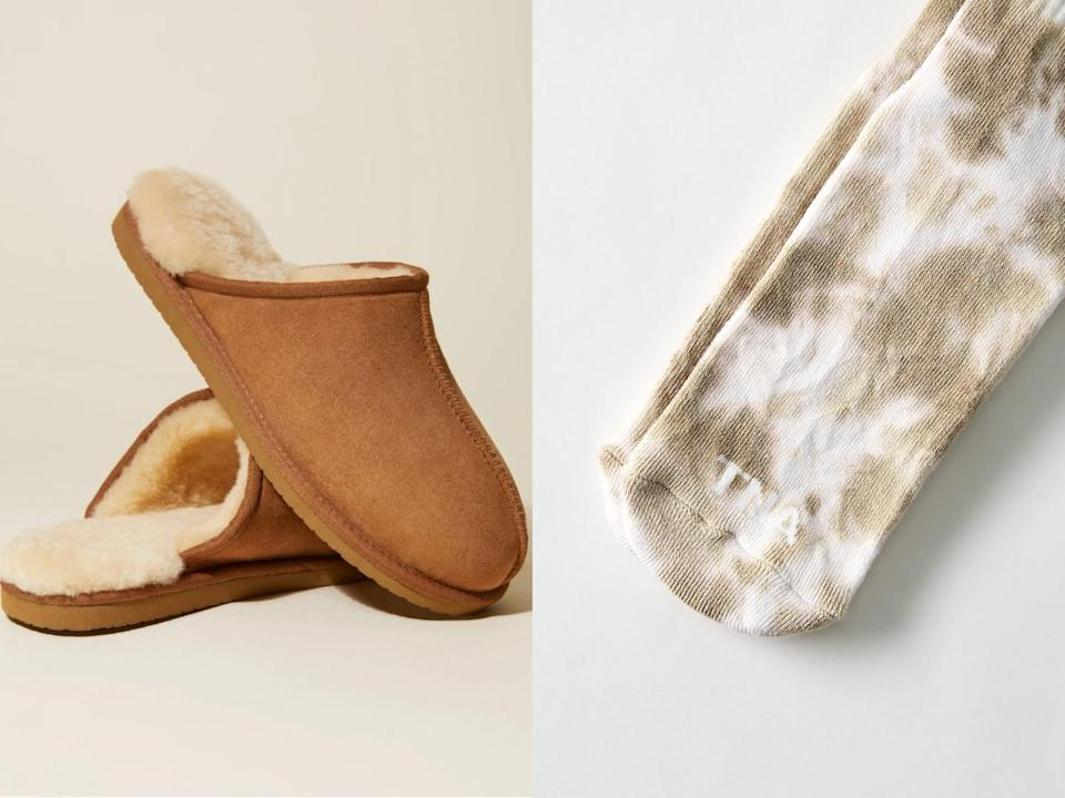 "<p>Mix and match these tie-dye <span>Aritzia Tna Base Crew Socks</span> ($18) with your favorite tie-dye sweatsuit, then finish the look with <span>Italic's Inner Shearling Lined Slippers</span> ($45), dubbed ""the year-round slipper"" because it's a must have 365 days a year.</p>"