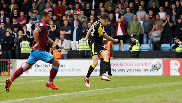 "Soccer Football - League One Play Off Semi Final First Leg - Scunthorpe United v Rotherham United - Glanford Park, Scunthorpe, Britain - May 12, 2018 Rotherham United's Joe Newell scores their second goal Action Images/Craig Brough EDITORIAL USE ONLY. No use with unauthorized audio, video, data, fixture lists, club/league logos or ""live"" services. Online in-match use limited to 75 images, no video emulation. No use in betting, games or single club/league/player publications. Please contact your account representative for further details."