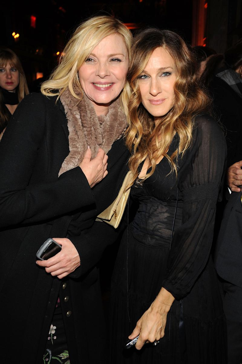 "NEW YORK - DECEMBER 14: Actors Kim Cattrall and Sarah Jessica Parker attend the premiere of ""Did You Hear About the Morgans?"" after party at The Oak Room on December 14, 2009 in New York City. (Photo by Bryan Bedder/Getty Images)"