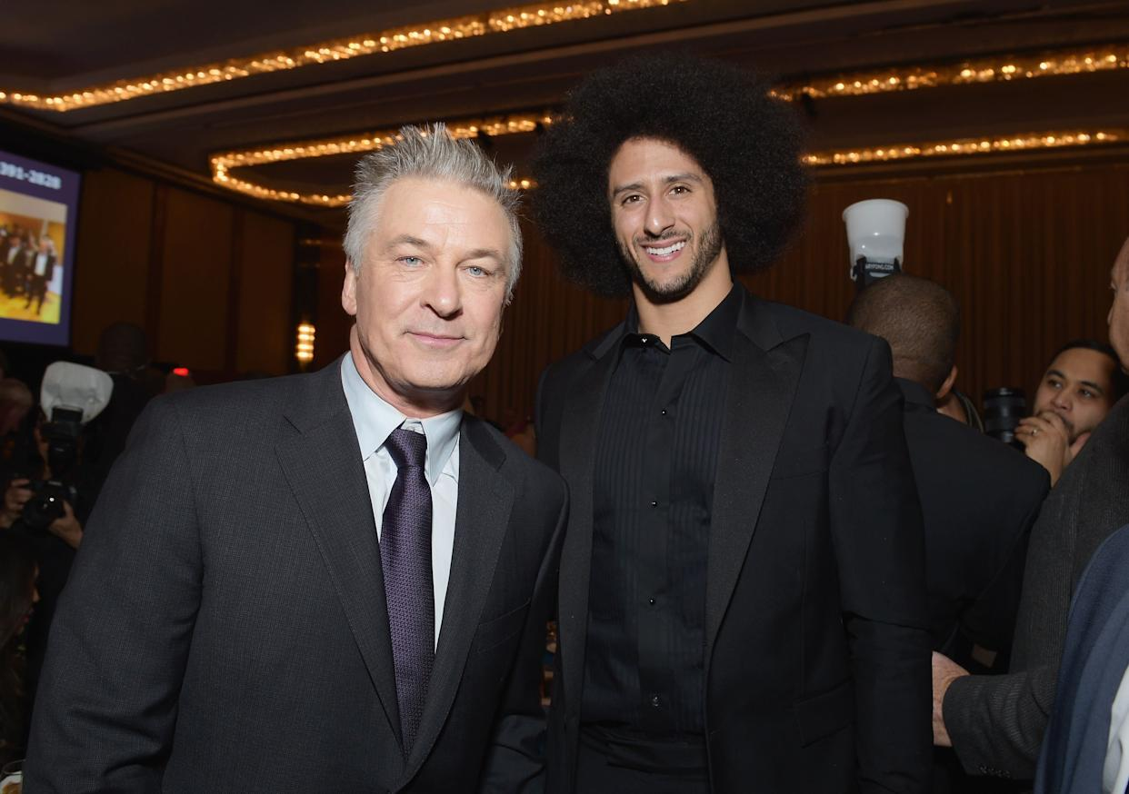 NEW YORK, NY - DECEMBER 13: Alec Baldwin (L) and Colin Kaepernick attend Robert F. Kennedy Human Rights Hosts Annual Ripple Of Hope Awards Dinner on December 13, 2017 in New York City. (Photo by Jason Kempin/Getty Images for Ripple Of Hope Awards)