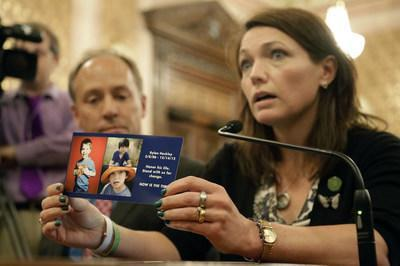 Nicole Hockley and Mark Barden advocating in Congress for Universal Background Checks in 2013, weeks after the murder of their first-graders at Sandy Hook Elementary School.