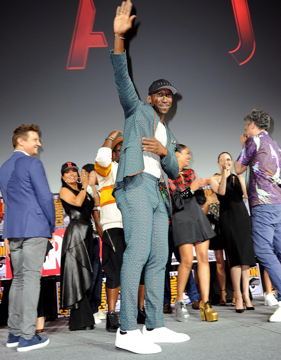 SAN DIEGO, CALIFORNIA - JULY 20: Mahershala Ali speaks at the Marvel Studios Panel during 2019 Comic-Con International at San Diego Convention Center on July 20, 2019 in San Diego, California. (Photo by Albert L. Ortega/Getty Images)
