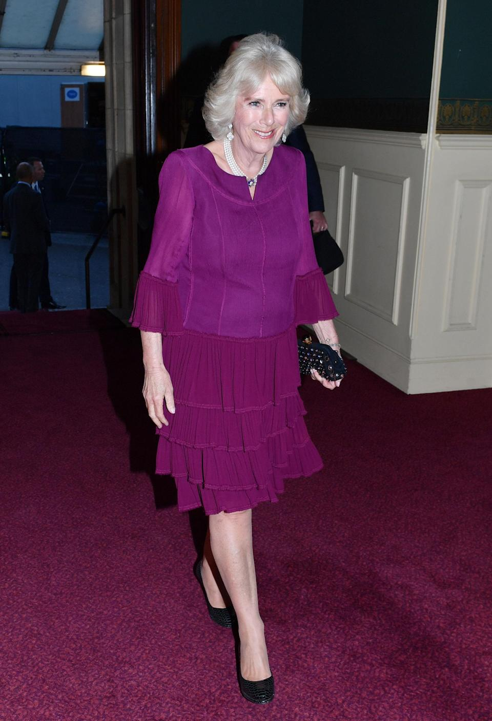 Camilla wore the earrings for the Queen's 92nd birthday celebrations in April (PA)