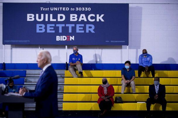 PHOTO: In this July 28, 2020, file photo Democratic presidential candidate former Vice President Joe Biden speaks at a campaign event at the William 'Hicks' Anderson Community Center in Wilmington, Del. (Andrew Harnik/AP, File)