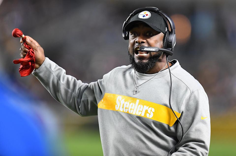 Mike Tomlin wasn't happy with a false start by the Chargers that the officials missed on Sunday night. (AP)