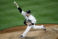 New York Yankees relief pitcher Nick Nelson throws in the fifth inning of a baseball game against the Boston Red Sox, Saturday, Aug. 1, 2020, in New York. (AP Photo/John Minchillo)