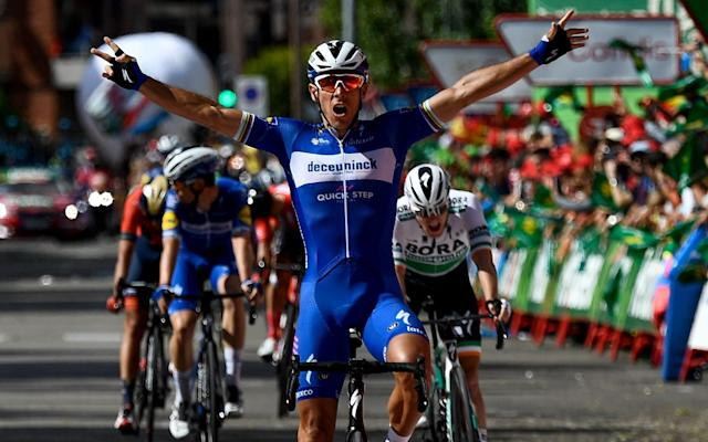 Philippe Gilbert celebrates as he wins stage 17 on what was another dramatic day at the Vuelta - AFP or licensors