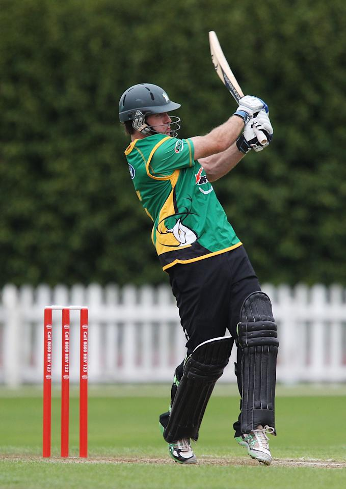 WELLINGTON, NEW ZEALAND - DECEMBER 27:  Jamie How of the Stags bats during the HRV Cup Twenty20 match between the Wellington Firebirds and Central Stags at Basin Reserve on December 27, 2010 in Wellington, New Zealand.  (Photo by Hagen Hopkins/Getty Images)
