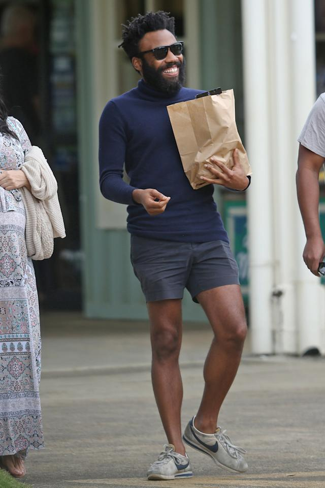 <p>Navy on navy and some old school kicks is a solid style move. But, for the record, only Donald Glover can rock a turtleneck in July.</p>