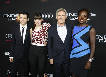 "Butterfield, Steinfeld, Ford and Davis pose at the premiere of ""Ender's Game"" at the TCL Chinese theatre in Hollywood"
