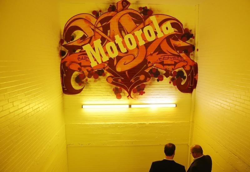 A decorated stairwell at Motorola Mobility global headquarters is seen at their public unveiling in Chicago, Illinois