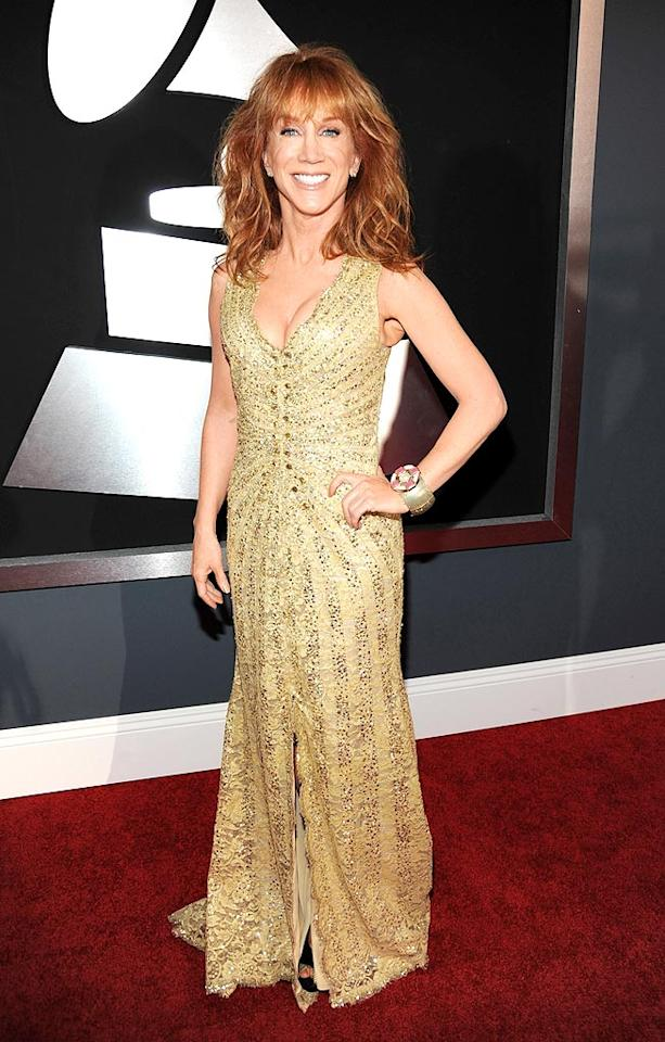 """Kathy Griffin  Grade: A   The """"My Life on the D-List"""" diva looked better than ever in a shimmering Carolina Herrera gown, statement cuff, and freshly tousled tresses. Kevin Mazur/<a href=""""http://www.wireimage.com"""" target=""""new"""">WireImage.com</a> - January 31, 2010"""