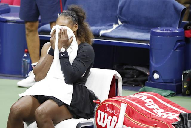 Serena Williams of the US reacts during the final changeover before the end of the women's final. (EFE)