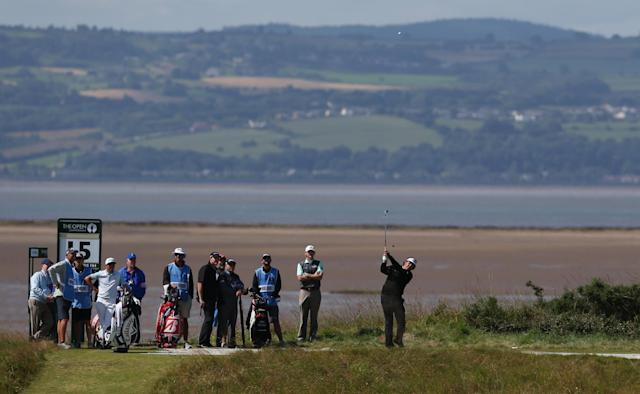Phil Mickleson of the US plays off the 15th tee during a practice round ahead of the British Open Golf championship at the Royal Liverpool golf club, Hoylake, England, Tuesday July 15, 2014. The British Open starts on Thursday July 17. (AP Photo/Jon Super)