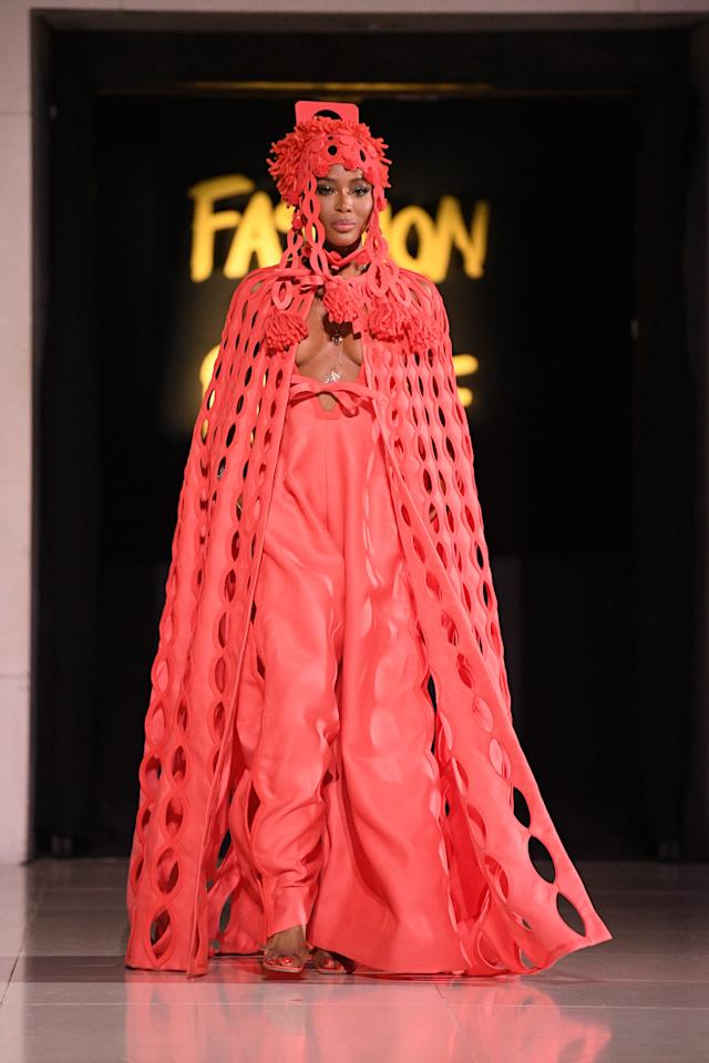 Naomi Campbell walks the runway at the Spring Summer 2020 Fashion For Relief show during London Fashion Week [Photo: Getty Images]