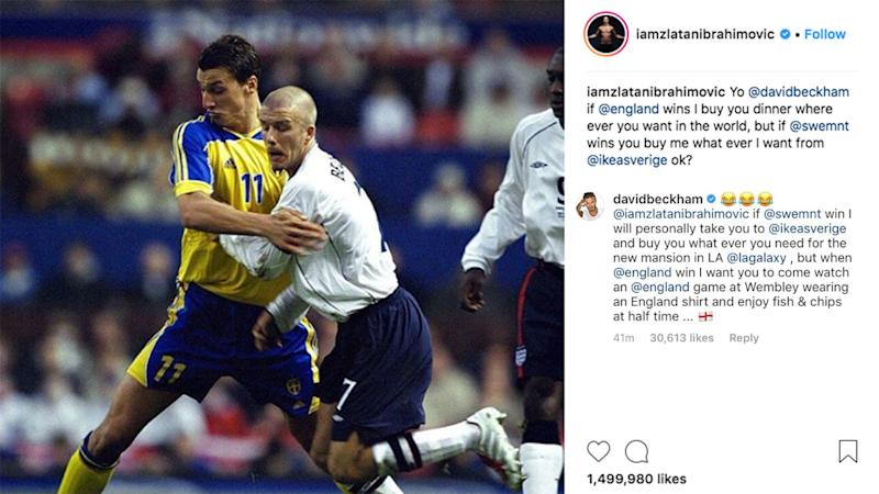 Zlatan Ibrahimovic and David Beckham make friendly wager on Sweden-England