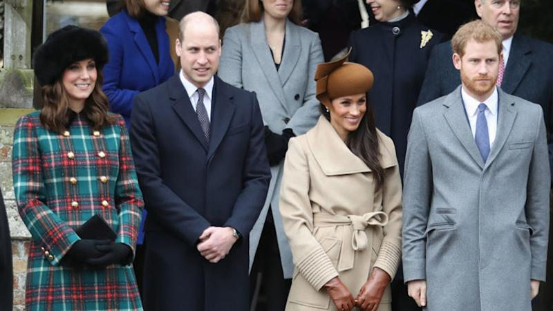 Princess Beatrice, Princess Eugenie, Princess Anne, Princess Royal, Prince Andrew, Duke of York, Prince William, Duke of Cambridge, Catherine, Duchess of Cambridge, Meghan Markle and Prince Harry attend Christmas Day Church service at Church of St Mary Magdalene on December 25, 2017 in King's Lynn, England.