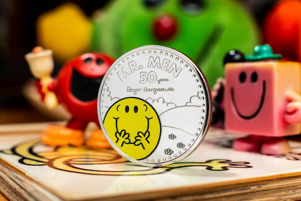 EMBARGOED TO 0001 TUESDAY FEBRUARY 16 EDITORIAL USE ONLY The Royal Mint unveils a new �5 Mr Happy coin, which launches today to celebrate 50 years of the Mr Men and Little Miss characters. Issue date: Tuesday February 16, 2021.