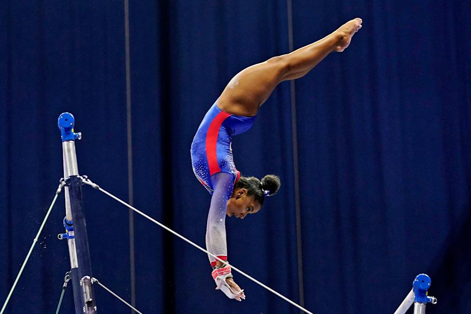 Jordan Chiles competes on the uneven bars during the 2021 U.S. Gymnastics Olympic Trials on June 25, 2021, in St Louis, Missouri.