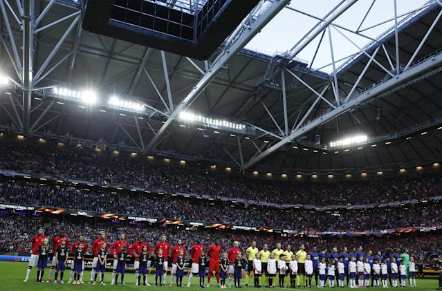 <p>Ajax players take part in a minutes silence in memory of the victims of the Manchester Concert attack prior to the UEFA Europa League Final between Ajax and Manchester United at Friends Arena on May 24, 2017 in Stockholm, Sweden. </p>