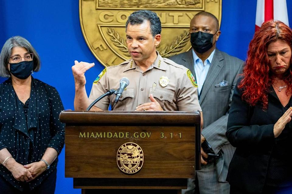 Miami-Dade Police Department Director Alfredo Ramirez III, along with other county officials, provided an update on the search and recovery operation following the Surfside building collapse during a press conference at Miami-Dade Emergency Operations in Doral, Florida, on Monday, July 26, 2021.