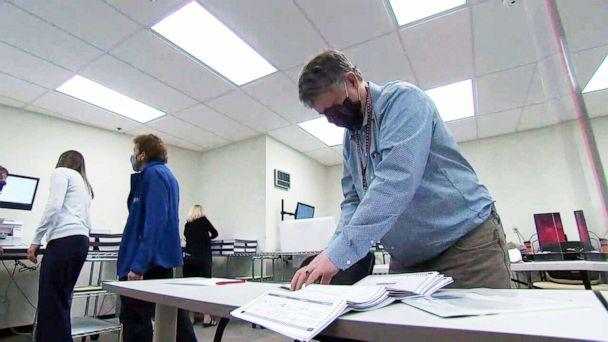 PHOTO: Election officials test ballot counting machines to make sure everything works ahead of November 3rd election (ABC News)