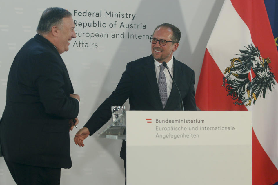 US Secretary of State Mike Pompeo, left, attends a joint news conference with Austrian Foreign Minister Alexander Schallenberg in Vienna, Austria, Friday, Aug. 14, 2020. Pompeo is on a five-day visit to central Europe. (Photo/Ronald Zak)