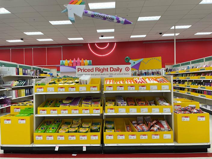 Target has set up back-to-school departments in stores.