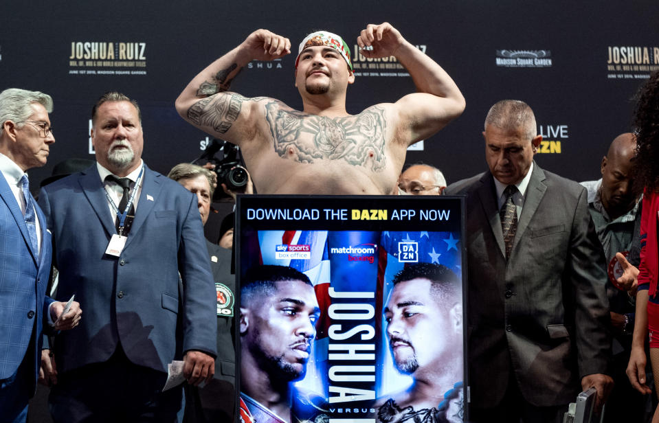 FILE - Heavyweight boxer Andy Ruiz Jr. weighs in before a title bout against Anthony Joshua at Madison Square Garden in New York, in this Friday, May 31, 2019, file photo. Ruiz promises there will be plenty of action on the pre-Cinco de Mayo weekend as he takes his first baby steps toward regaining the title he so unexpectedly won in a stunning stoppage of Anthony Joshua two years ago. (AP Photo/Craig Ruttle, File)