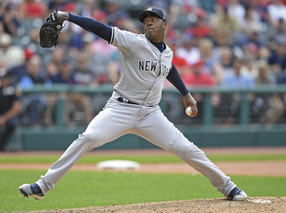 New York Yankees relief pitcher Aroldis Chapman delivers in the ninth inning of a baseball game against the Cleveland Indians, Sunday, June 9, 2019, in Cleveland. (AP Photo/David Dermer)