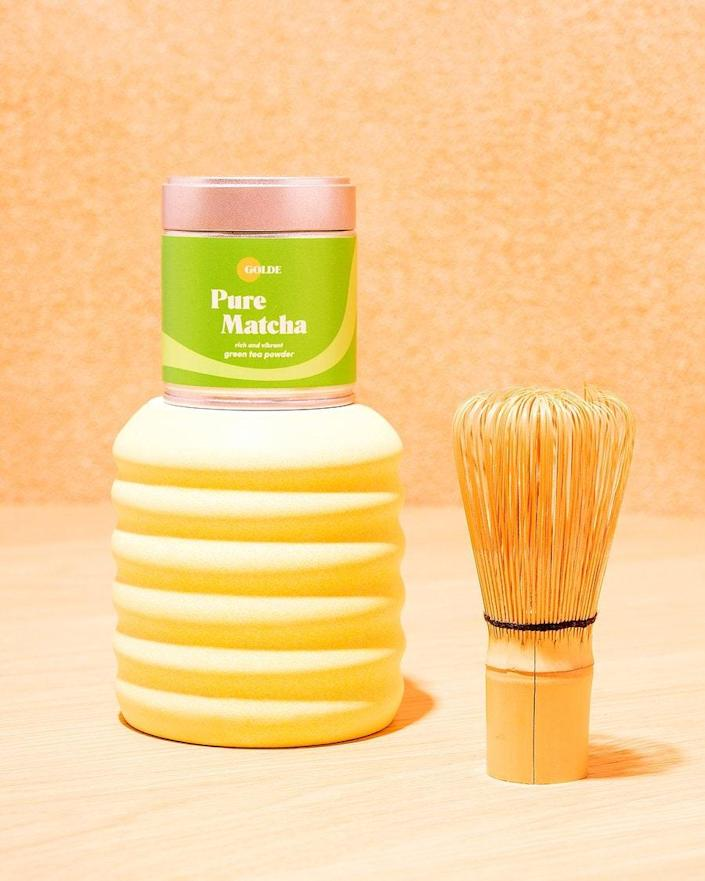 """This happy little kit has everything they need to whisk up matcha in the comfort of a brand-new kitchen! $42, Golde. <a href=""""https://golde.co/collections/kits/products/make-your-matcha-kit"""" rel=""""nofollow noopener"""" target=""""_blank"""" data-ylk=""""slk:Get it now!"""" class=""""link rapid-noclick-resp"""">Get it now!</a>"""