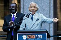 Veteran campaigner Reverend Al Sharpton told the crowd that Floyd's killing was 'one of the greatest disgraces in American history'